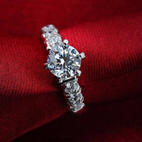 H&A 1.5CT Halo engagement ring, promise ring, Wedding Band, his and hers promise ring, wedding rings, Matching ring, the ring woman