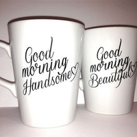 "Latte mug couple set of 2 romantic couple mug set- ""Beautiful and Handsome"" set perfect couple gift wedding gift, housewarming Gift"