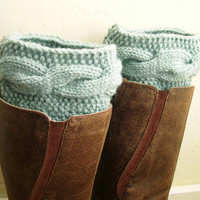 SALE - Mint Blue Leg Warmers - Handknit Mint Blue Boot Cuffs - Mint blue boot toppers - Cable knit boot toppers