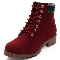 Burgundy Lace Up Contrast Cuff Boots