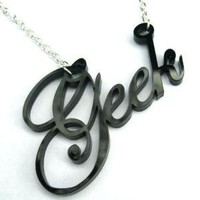 Geek is the New Cool laser cut geek necklace in by Morphologica