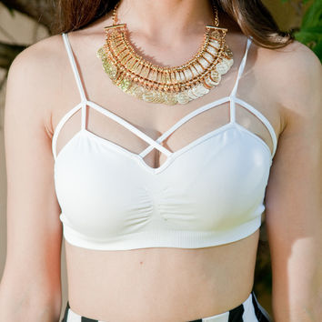 White Criss Cross Caged Bandeau