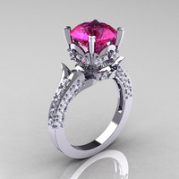 14K White Gold French Vintage 3.0 Ct Pink Sapphire Diamond Solitaire and Wedding Ring Bridal Set R401S-14KWGDPS