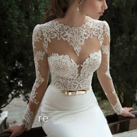 Sexy lace long-sleeved dress CA922DD