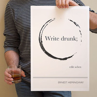 Ernest Hemingway Art Prints Posters Illustration by ObviousState