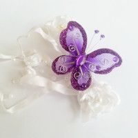 Barrette wedding hair clip in vintage style wedding cadberry purple butterfly hand made silk flower faux pearls