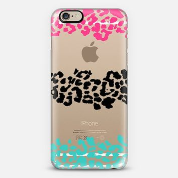 Pink Black Teal Wild Leopard Transparent iPhone 6 case by Organic Saturation | Casetify