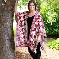 Houndstooth Check Poncho