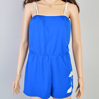 1960s Blue Swimsuit with Fishies / Vintage Bathing Suit / White Fish / Summer Romper / Play Suit / Size Medium
