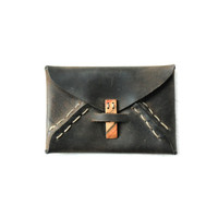 Upcycled Leather Wallet with Wood Clasp
