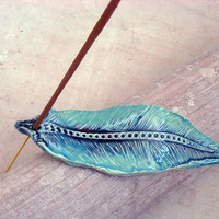 Incense stick holder in shades of blue and turquise