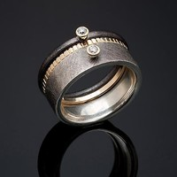 Diamond Solitaire Stacking Set  by Stephen Dixon: Gold  Silver    Stone Ring - Artful Home