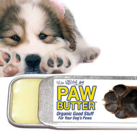Dog Paw Butter - Organic Balm for Dry, Cracked, Rough Dog Paw Pads .50 oz. Slide Top Tin with Adorable Paw on the Label in Organza Gift Bag