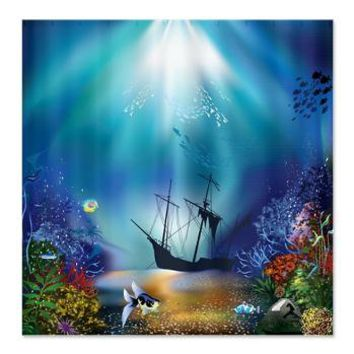 Underwater Scene Shipwreck Shower Curtain> Shower Curtains> CLICK HERE-4 LOWER PRICES-GetYerGoat.com