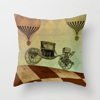 Surreal Automobile and Hot Air Balloons by Adidit Throw Pillow by Adidit | Society6