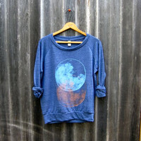 the full moon at midnight Slouchy Pullover Moon by nicandthenewfie