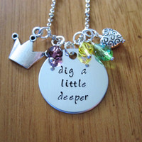 """Disney's """"Princess and the Frog"""" Inspired Necklace. Tiana. """"Dig a Little Deeper"""". Swarovski crystals, for women or girls."""