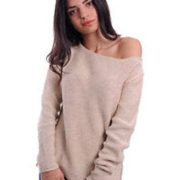 Ladies beige summer pullover sweater, women's knit boat neck pullover sweater