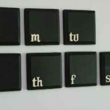 Magnetic Chalkboard Weekly Calendar (black with cream letters)