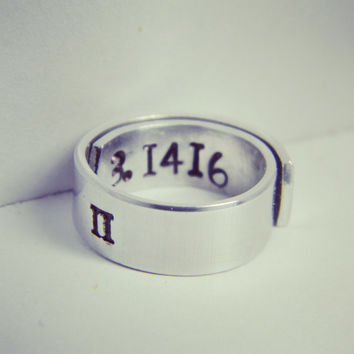 pi π ring 3.1416   aluminum ring 1/4 inch
