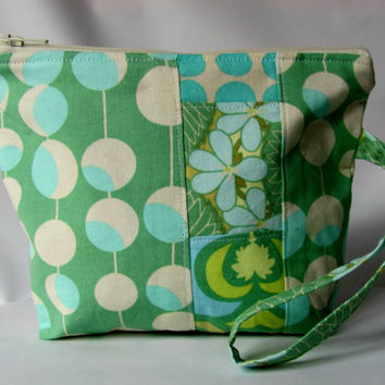 SALE 15% OFF Cosmetic Bag Wristlet , zippered pouch, Make up Bag Patchwork Martini in Green Amy Butler Fabrics