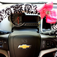 Black and White Damask Steering Wheel Cover with Bow