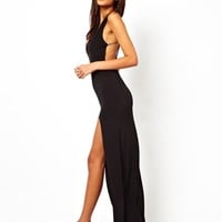 ASOS Deep Plunge Crystal Strappy Maxi Dress - Black