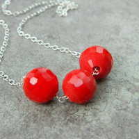 Crystal Necklace - Red Holiday, Balls, Christmas, Bright Red, Bright, Colorful, Autumn, Fall, Geometry, Sexy, Modern, Jewelry Necklaces