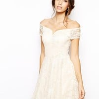 Chi Chi London Lace Prom Dress with Bardot Neck