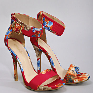 bridget floral ankle pump - fuschia