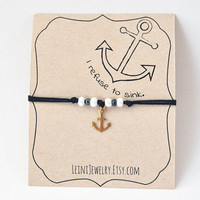 I refuse to sink bracelet, anchor bracelet, navy blue bracelet with anchor charm and beads
