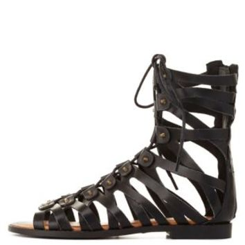 Black Studded Lace-Up Flat Gladiator Sandals by Charlotte Russe
