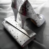Wedding Shoes and purse painted snowflakes White by norakaren
