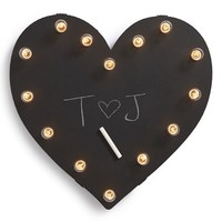 Universal Ironworks 'Marquee Lights - Chalkboard Heart' Recycled Metal Sign - White