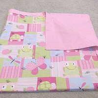 Butterfly Baby Blanket, Pink Baby Bedding, Frog Baby Bedding, Baby Girl Crib Bedding