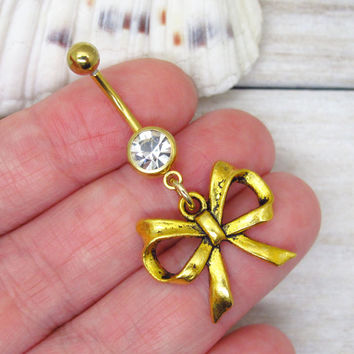 Antique gold bow belly button ring, bow belly button jewelry, bow navel jewelry, ribbon belly button ring jewelry,unique gift