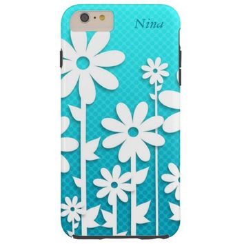 Pretty Abstract White Daisies Design iPhone 6 Case