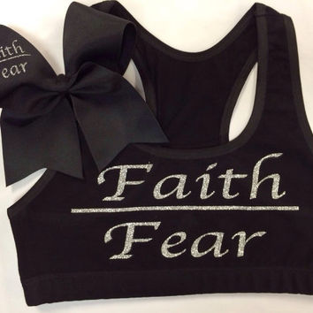 Faith Over Fear Sports Bra with Matching Bow
