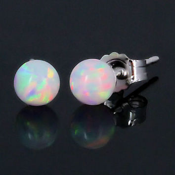 14K White Gold 4mm Australian Fiery White Opal Ball by 1000jewels