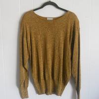 1980s Gold Metallic Long Sleeve Top by houseofheirlooms on Etsy