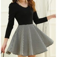 Simple Long sleeve and plaid peplum dress