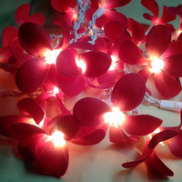35 Red Orchid Flower Fairy String Lights Wedding Party Floral Home Decor
