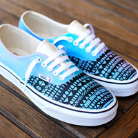 Custom Hand Painted Pastel Tribal Vans Authentic shoes - customizable