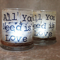 2 Candle Holders All You Need is Love by Green by GreenOrchidDS