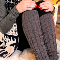 Quilted Knit Leg Warmers - ONE SIZE /