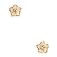 FOREVER 21 Tropical Flower Studs Gold/Cream One