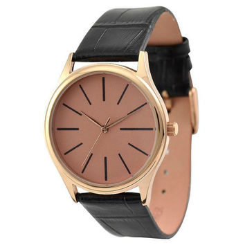 Rose Gold Watch (Rose gold face with long stripe)