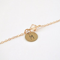 Initial bracelet, personalized bracelet with hand stamped charm and crystal bead, gold filled chain
