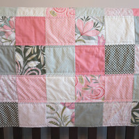 Patchwork Baby Quilt, Coral and Mint Baby Girl Blanket, Crib Quilt