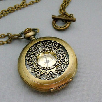Antique Gold Vintage Style Pocket Watch by pinkingedgedesigns
